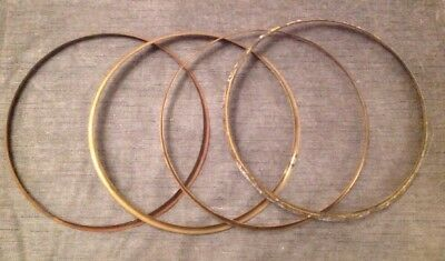 "Antique Wall Clock Brass Bezel Retaining Rings Collection Of Four 12"" Diameter"