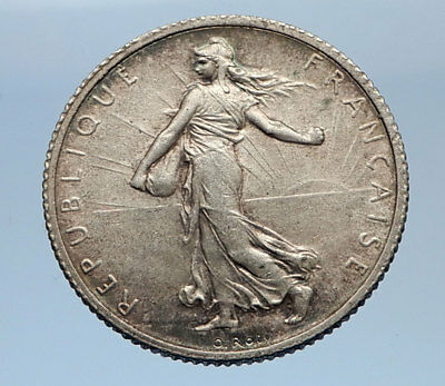 1916 FRANCE Antique Silver 1 Franc French Coin w La Semeuse Sower Woman i69342