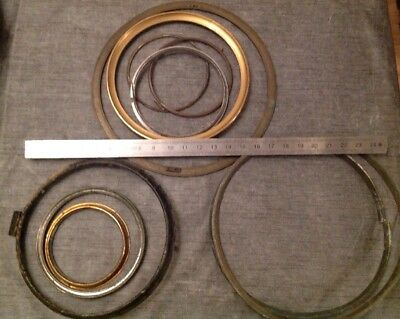 Antique Clock Brass Bezels Retaining Rings Clockmakers Collection Spare Parts