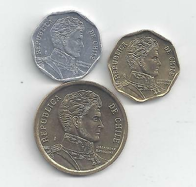3 NICE COINS from CHILE - 1, 5 & 10 PESOS (ALL DATING 2012)
