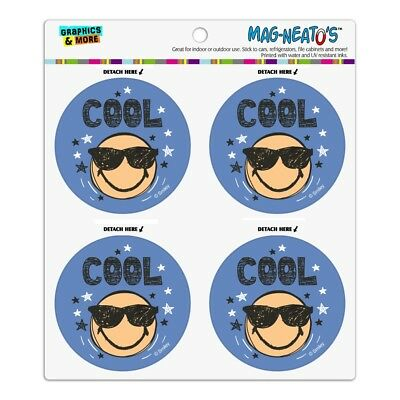 Cool Sunglasses Smiley Face with Stars Refrigerator Fridge Circle Magnet Set