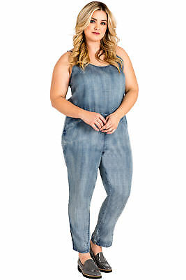Standards & Practices Plus Size Spaghetti Strap Tapered Leg Tencel  Jumpsuit