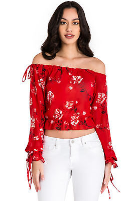 6f4c14ffec301 Standards   Practices Modern Women s Off The Shoulder Red Floral Chiffon  Shirt
