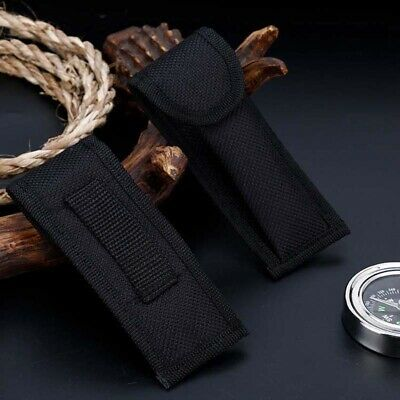 Black Nylon Pouch Sheath Bag For Folding Knife Tool Back Belt Clip Case