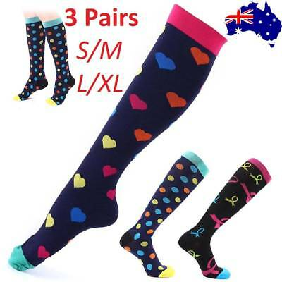 3Pairs 15-30mmHg Medical Compression Socks Support Stockings Travel Flight Socks