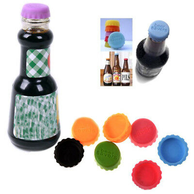 6X Colorful Cute Silicone Lids Reusable Bottle Cap Cover Sealer Beer Wine Savers