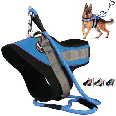 Tactical Stop Pull Adjustable Dog Vest Harness Strong Leash for Medium/Large Dog