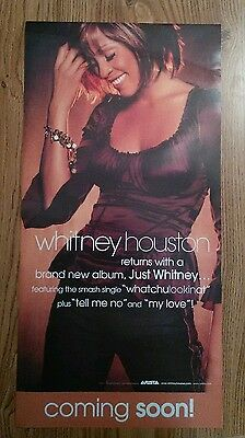 "Whitney Houston 2002 ""Just Whitney"" Double Sided Promo Poster in NM Condition"