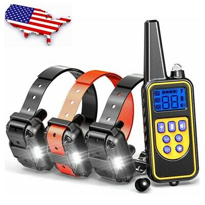 LCD Dog Waterproof Rechargeable Remote Shock Training Collar NO Bark For dogs US