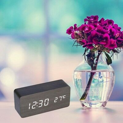 Modern Wooden Wood USB/AAA Digital LED Alarm Clock Calendar Thermometer Selling