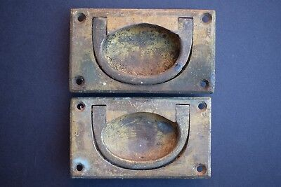 Pair of Victorian Flush Drawer Pull Handles old vintage chest reclaimed cabinet