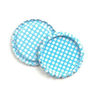 """10pcs Blue Dots Flat Double Sided Colored 1"""" Bottle Caps Hair Bow DIY Crafts"""