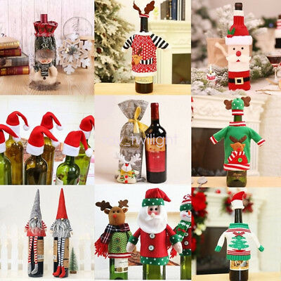 Red Wine Bottle Cover Bags Snowman Santa Claus Christmas Table Party Decor Xmas