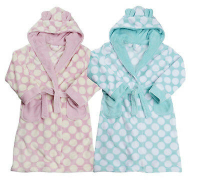 New 4 Kidz Kids Girls Cozy Fleece Spotty Hooded Bear Ears Dressing Gown PJ Robe