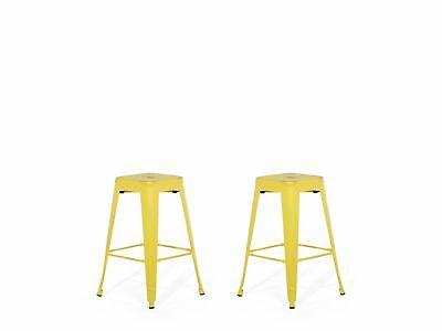 """Industrial Set of 2 Metal Bar Stool 18"""" Yellow with Gold Patina Cabrillo"""