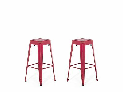 Industrial Set of 2 Metal Bar Stool 2ft5 Red with Gold Patina Cabrillo