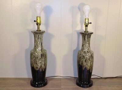 Pair lava drip glaze pottery lamps Mid Century Modern white over brown, black