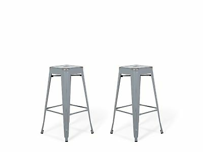 Industrial Set of 2 Metal Bar Stool 2ft5 Silver with Gold Patina Cabrillo
