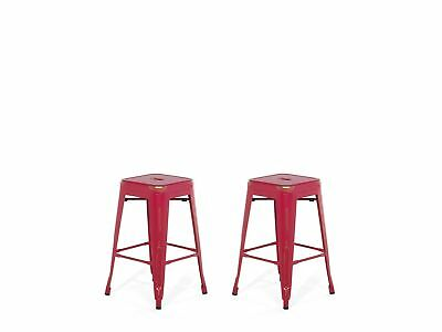 """Industrial Set of 2 Metal Bar Stool 18"""" Red with Gold Patina Cabrillo"""