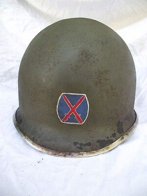 "WWII US M1 HELMET ""FIXED BALE / FRONT SEAM"" 10th Mountain Div.+ Westing. LINER."