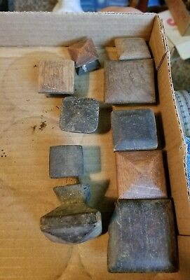 Antique/Vintage Craftsman Square Oak   Drawer/Door Knobs, Solid Wood 10