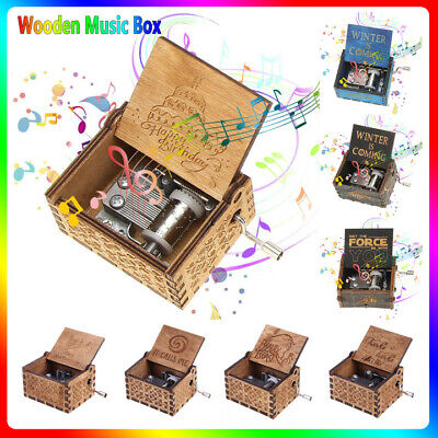 Retro Wooden Music Box Craft Hand Crank Engraved Toys Kids Birthday Gift Xmas