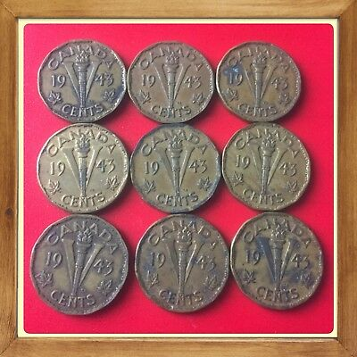 🇨🇦 Lot Of 9-1943 Tombac Canada five cents Canadian nickels Coins #1404 🇨🇦
