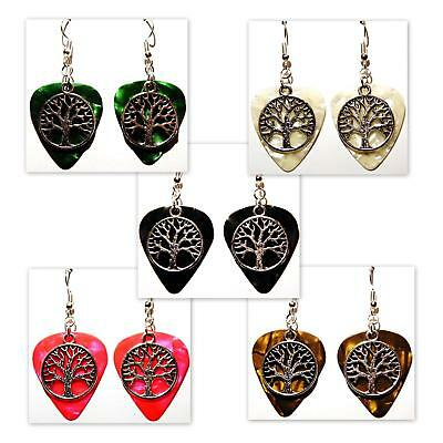 Tree of Life Charm on Guitar Pick Earrings - Choose Color - Handmade in USA