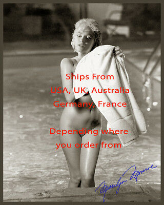 Marilyn Monroe Print Reproduction  the last naked nude pose Signed in Blue 1183