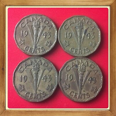🇨🇦 Lot Of 4–1943 Tombac Canada five cents Canadian nickels Coins #1407 🇨🇦