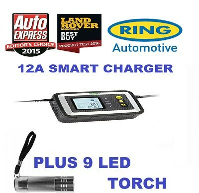 Ring RSC612 12 Amp Smart Car Battery Charger + 9 LED Torch Free Tracked Postage