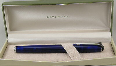 Levenger True Writer Blue Transparent & Chrome Rollerball Pen - New In Box