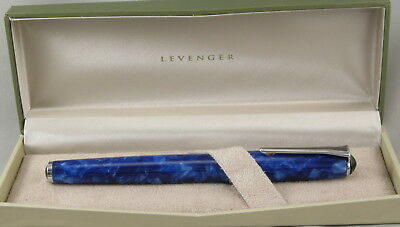 Levenger True Writer Marble Blue & Chrome Rollerball Pen - New In Box