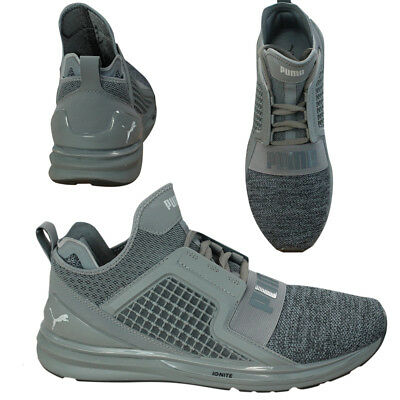 8be4e457def Puma Ignite Limitless Knit Mens Textile Lace Up Grey Trainers 189987 06 U35