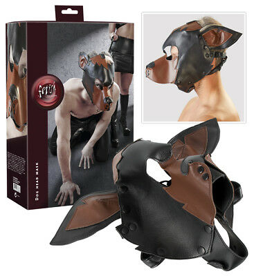 Sex Toys Maschera Cappuccio da cane Dog Mask Fetish Bondage Slave Hot Similpelle