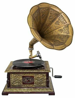 Antique style gramophone complete with horn  decorative wooden base (l2)