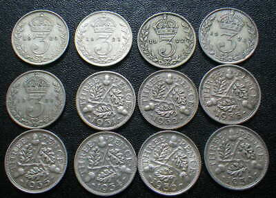 Great Britain George V 1920-1936 .500 Silver Threepences. Later Dates VF
