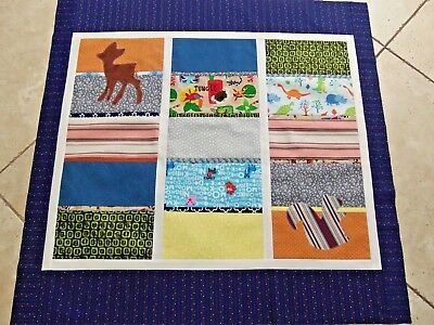 """Baby Boy's Animal Quilt Top, Finished Quilt Top Only, 34"""" x 35"""", Nursery Crib"""