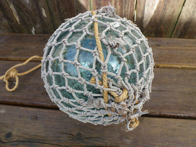 """#2  Japanese Glass Fishing Float,  24""""  Circumference Including Rope Netting"""
