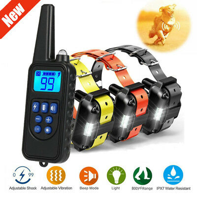 875 Yard Pet Trainer Waterproof Dog Training Shock E-Collar Rechargeable Remote