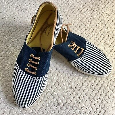 Vintage Bass Striped Canvas Sneakers Size 6