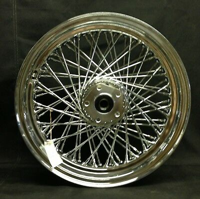 "Chrome 80 Spoke 16"" x 3"" Rear Wheel for Harley FX/FL Softal Dyna XL 1984-1999"