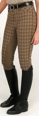 Rugged Horse Las Riding Breeches Style H1 Brown Checked With Leather Seat