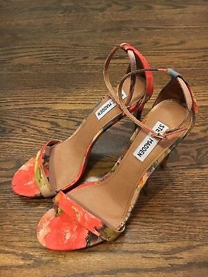 80727cd2cde Steve Madden Stecy Tropical Floral Coral Ankle Strap Heel Sandals - 8 - Rare