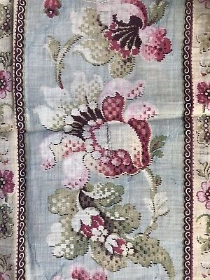 """Stunning Antique french Block Printed Floral Fabric 22""""/35"""""""