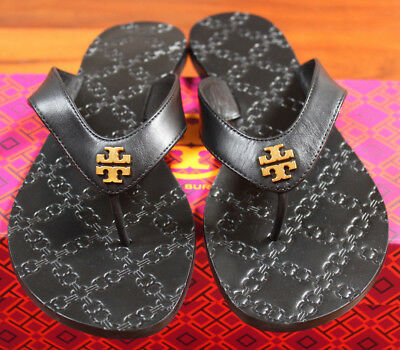 867778a46af9 NIB Tory Burch Black Leather Monroe Gold Logo Sandal Flip Flop Thong Shoe 8   138