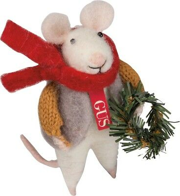 Primitive Felted Christmas Mouse Gus With Wreath Wool Country/Folk Art