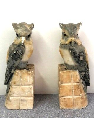 Pair of Vintage Alabaster Marble Bookends Hand Carved Great Horned Owl Bird