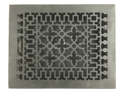 "Vintage Antique Black Heat Vent Register Return Grate Cast Iron 12"" x 9"""