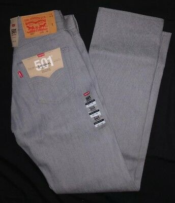 4c4f0cbc5fa NWT Men's Levi's 501 Shrink To Fit Button Fly Jeans Straight Leg Gray Sz 29  x
